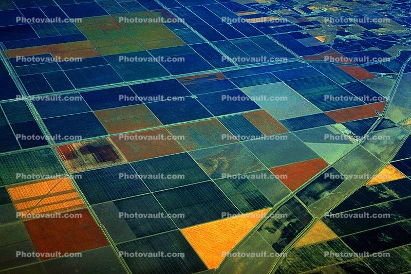 Central Valley, California, patchwork, checkerboard patterns, farmfields