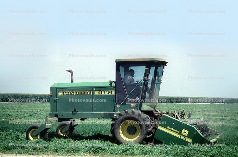 Hay Swather, Cutter, Harvest, John Deere, 4890 Self-Propelled Windrower, Self Propelled, Rotary Cutter, combine, Windrower