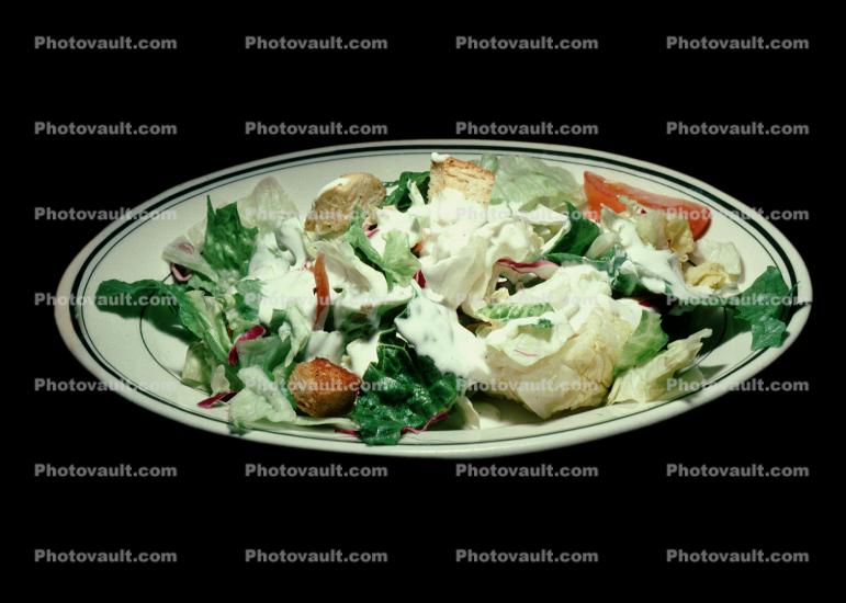 Green Salad, croutons, Blue Cheese Dressing, plate