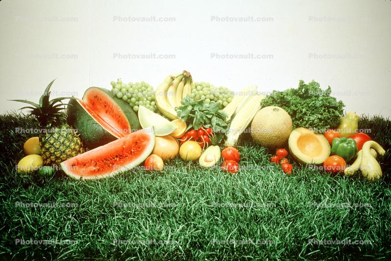 Water Melons, Pineapple, Bananas, Grapes, Honeydew Melon, Tomato, grass