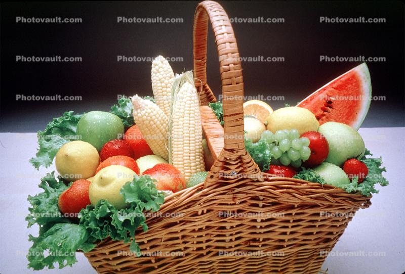 grape, lemon apple, basket, watermelon, corn, lettuce, cornucopia