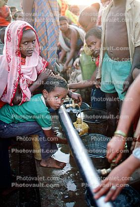 Water Pump, Pumping Water, Well, Refugee Camp, Somalia