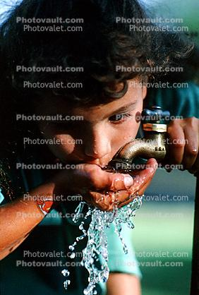 Girl, Drinking Water, Faucet
