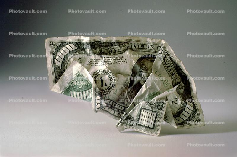 Crumpled One Thousand dollar bill, One Thousand dollar bill, Paper Money, Cash