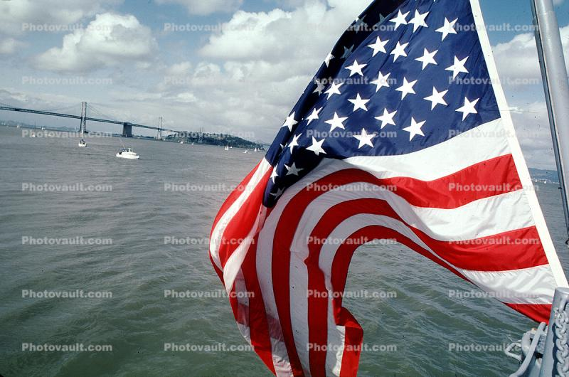 Old Glory, USA, United States of America, San Francisco Oakland Bay Bridge, Star Spangled Banner