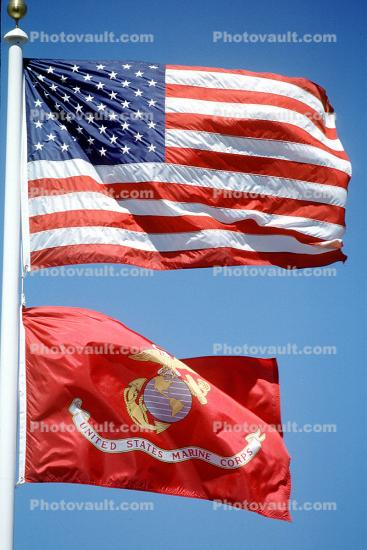 Old Glory, USA, United States of America, Marine Corps Flag, Windy, Windblown