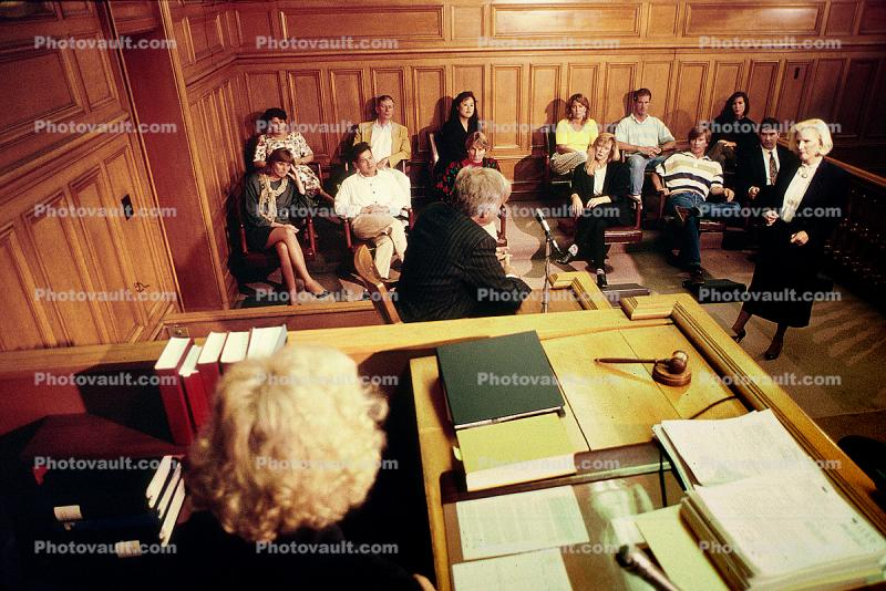 Gavel, judge, jury, Defendant, witness, Trial, Court Session, Juror, People