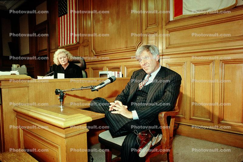 defendant, witness stand, male, businessman, man, microphone, person, Pinstripe Suit, tie, People, talking, speaking, smile, court session, trial, Woman Judge