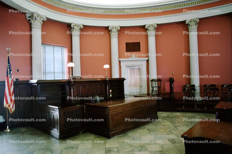 Courtroom, flags, columns