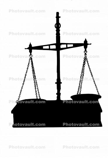 Scales of Justice silhouette, logo, shape