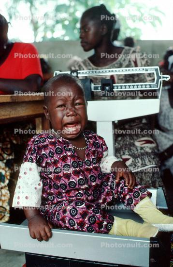 Crying Baby, Weighing a Toddler, Scale, Well Baby Clinic, Bobo-Dioulasso