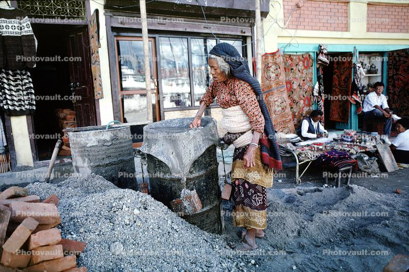 Woman, shops, stores, gravel, Aggergate, mixing cement