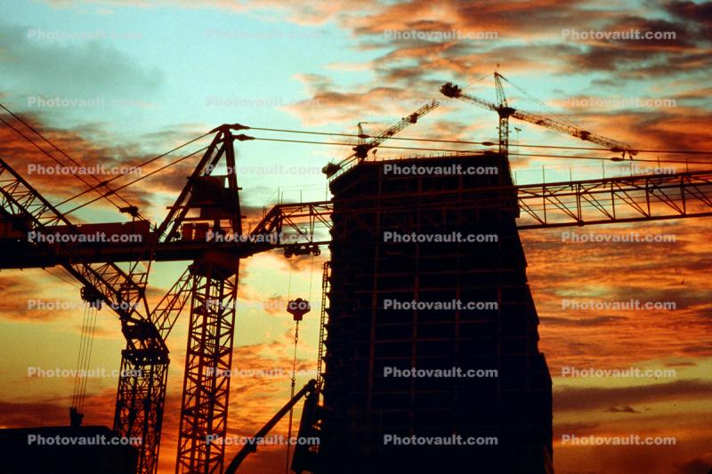 Tower Crane, Steel Frame, Office Building Construction, Highrise, Sunset