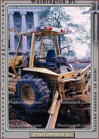 Caterpillar 416 Backhoe Loader, digging a ditch, government building, wheeled tractor, earthmover, earthmoving
