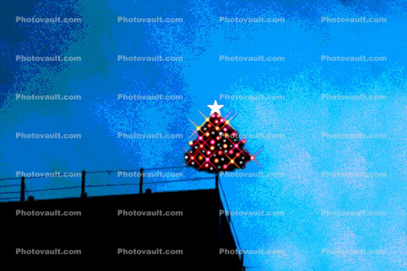 Christmas Tree, Nighttime, Paintography