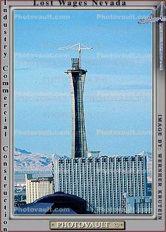 Construction of the Stratosphere Hotel, Tower Crane, Casino, building