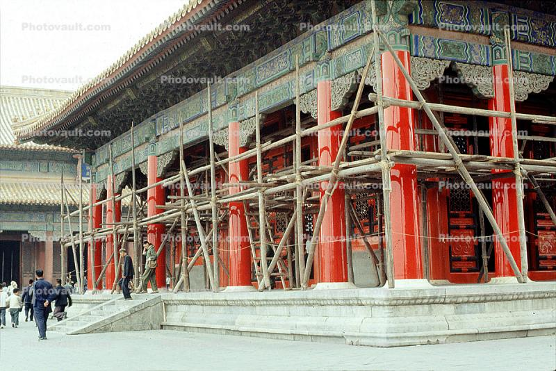 temple, building, scaffolding, Beijing, China