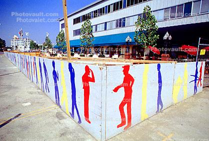 Graphic Art, men at work, fence, building, Oakland