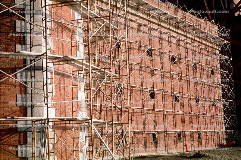 Scaffolding, Red Brick Building, Fort Point, San Francisco