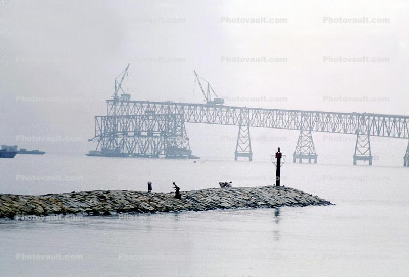 cranes, jetty, fisherman, rocks, bay