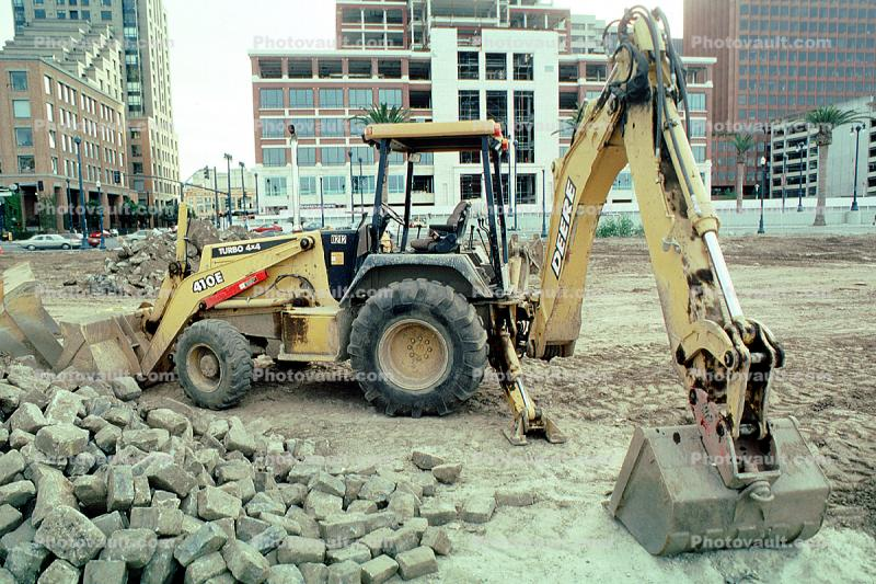 Front Loader, Back Hoe, John Deere 410E Wheel Excavator, loader, backhoe, Earthmoving, Earthmover, Digger