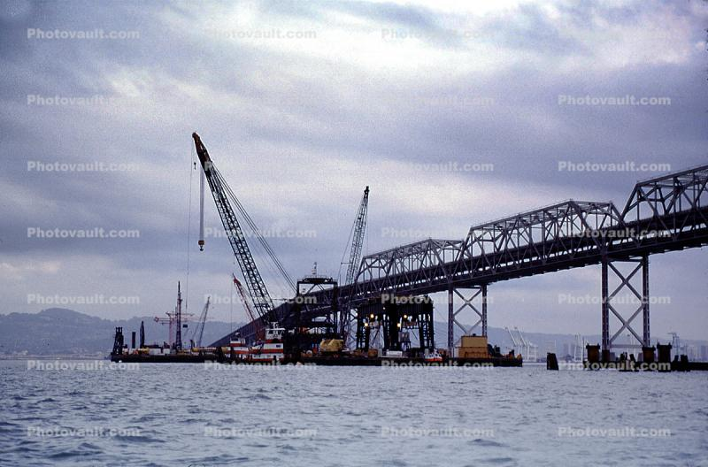 Crane, barge, construction of the new Eastern Span of the Bay Bridge, tugboat