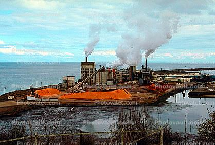 Log Rafts, Pulp Mill, smoke, air pollution, Port Angeles