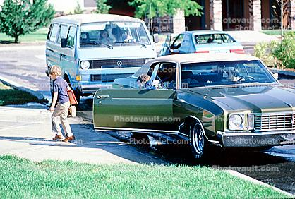 Dropping Children off for School, June 1984, 1980s