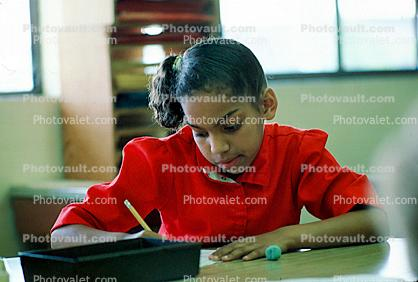 Girl, Desk, Classroom, writing, test, Student