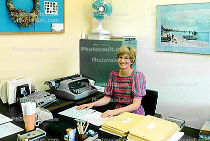 Teacher, typewriter, fan, desk, paperwork, classroom, Student