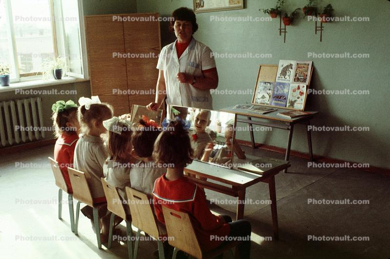Mirror, Russian kids in School, St. Petersburg, Russia, 1974, 1970s