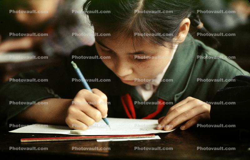Girl Writing in Classroom, Classroom, Schoolroom, China, 1973, 1970s