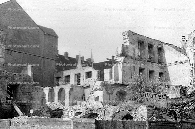 Bombed out buildings, Hotel Burghof