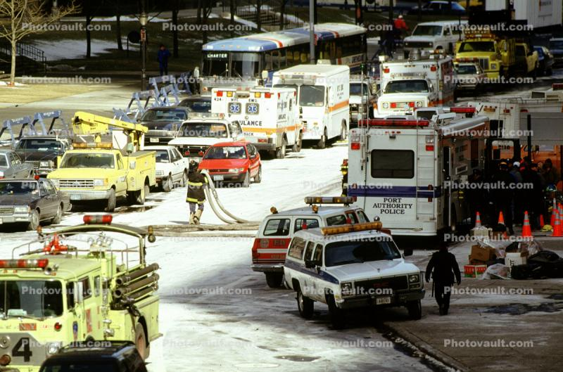 Police, Firetruck, Emergency Vehicles, Greyhound Bus, 1993 World Trade Center bombing, February 26, 1993