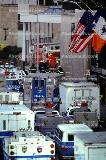 Police, Flags, Emergency Vehicles, 1993 World Trade Center bombing, February 26, 1993