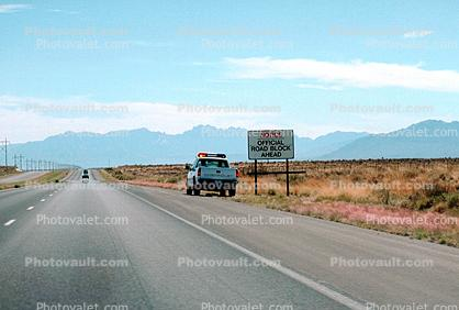 Notice -  Road Block Ahead, White Sands Missile Range, New Mexico