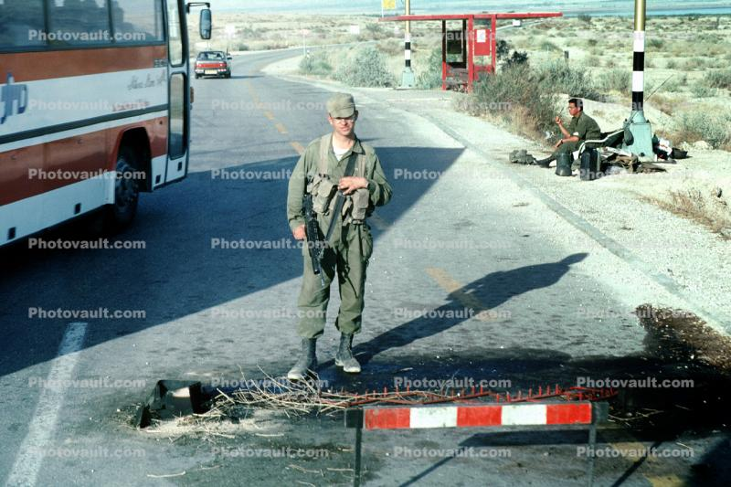 Highway-90 along the Israel Jordan border in the West Bank, Checkpoint, IDF, Israeli Defense Force, soldier
