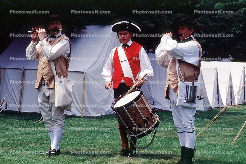 Drum and Fife Corps, Tents, Encampment, Revolutionary War, combat, battlefield, troops, uniforms, americana, soldiers, colonial, American Revolution, History, Historical, British Army, War of Independence