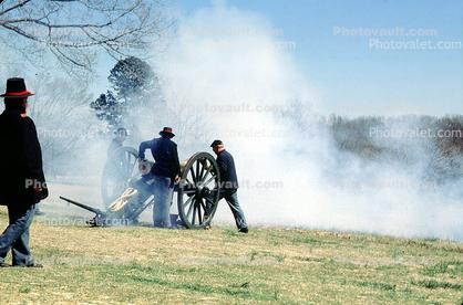 Civil War, Blue Coats, Cannon, Firing, Smoke, Artillery, gun, battle