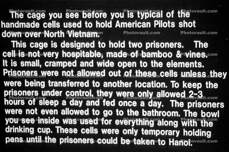 Prisoner Cage to Hold American Pilots shot down over North Vietnam
