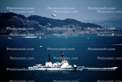 USCGC MIDGETT (WHEC-726), Coast Guard Cutter, 726, Golden Gate 50th Anniversary Celebration, Sikorsky HH-3 Pelican, USCG