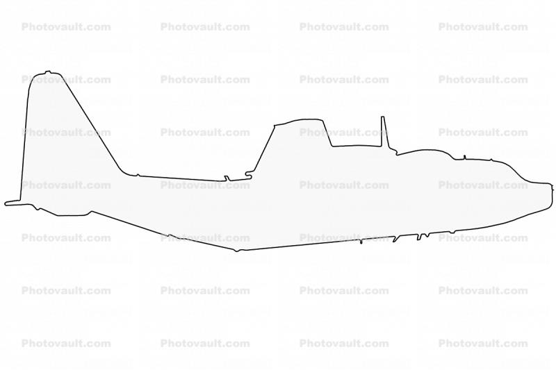 Lockheed MC-130P outline, line drawing, shape