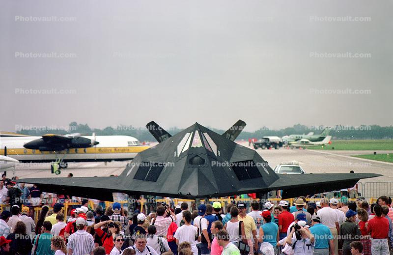 Crowds, People, Attendees, Air Show, Lockheed F-117A Stealth Fighter