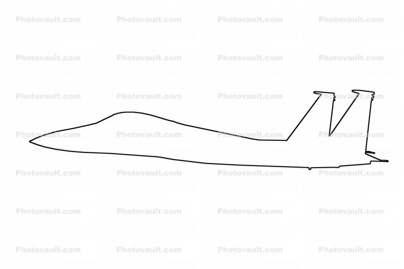 F-15 Eagle outline, line drawing, shape
