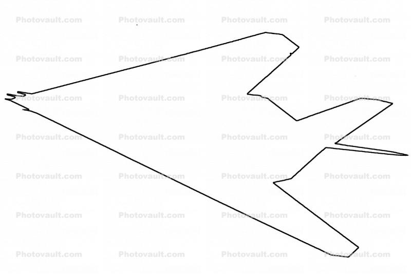 Lockheed F-117A outline, line drawing, shape