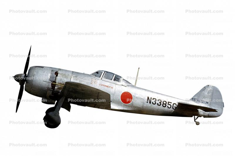 Kawanishi N1K2-J Shiden Kai, Japanese Air Force, N3385G, WW2, Aircraft, photo-object, object, cut-out, cutout, Roundel