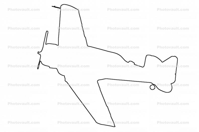 AT-6 SNJ Texan outline, line drawing, shape