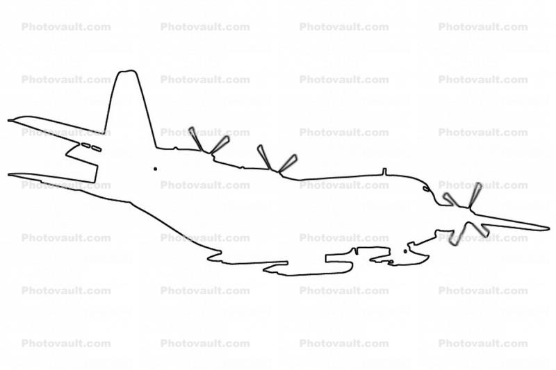 Lockheed C-130 Hercules outline, VXE-6, USN, line drawing, shape