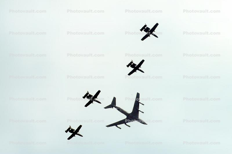 Boeing KC-135 leads a formation of A-10 Thunderbolts, Aerial Tanker, Stratotanker, formation flight