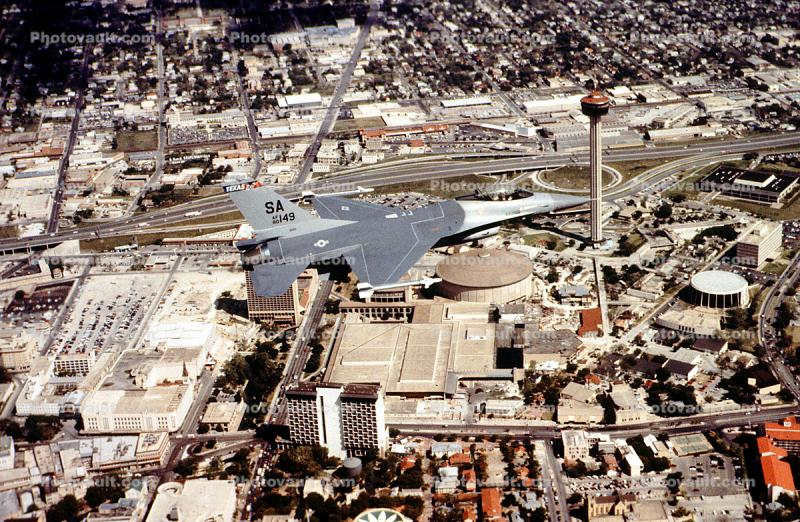 80-149, Lockheed F-16 Fighting Falcon, Air-to-Air, San Antonio Tower of the Americas, Texas Air National Guard, ANG, flight, flying, airborne, milestone of flight